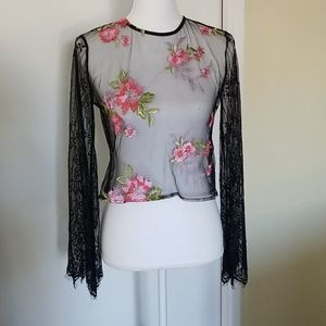 Forever 21 Contemporary Sheer Black Lace Shirt